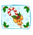 Christmas candy cane and Holly berry in ice vector image