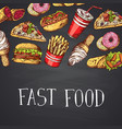 hand drawn fast food with vector image