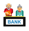 elderly making deposit in bank grandparents with vector image