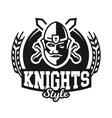 monochrome logo emblem knight in helmet against vector image