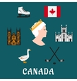 Canada travel flat icons and symbols vector image
