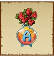 Glass vase with mountain ash and letter A vector image