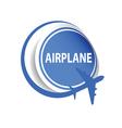 sticker airplane blue vector image