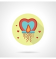 Valentines Day sky lantern icon flat style vector image