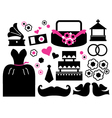 Retro wedding items and design elements vector image