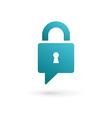 Secure lock speech bubble logo icon vector image