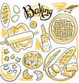beautiful hand-draw set of baking vector image