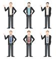 Businessman character flat set vector image