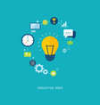 creative idea flat with bulb and icons vector image
