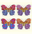 set of embroidery pattern with butterfly on white vector image