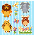 sticker set with wild animals on blue background vector image
