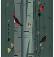 birch grove with birds vector image