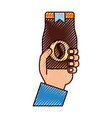 Hand human with coffee toast bag icon vector image