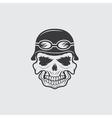 skull in helmet biker theme design template vector image