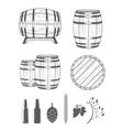 Set Barrels and Design Elements vector image