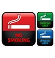 Labels set - No smoking area stickers vector image
