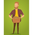 Farmer with a basket in the hands of harvest vector image