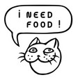 i need food cartoon cat head speech bubble vector image