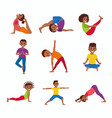 Kids exercise poses and yoga asana set vector image
