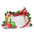 paper scroll with red bow candles and christmas vector image