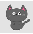 Gray contour cat with big eyes pink ears Cute vector image