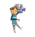 Close-up of boy holding camera vector image vector image