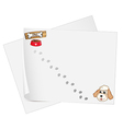 Stationery papers with a pet and footprints vector image vector image