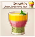 Peach strawberry and kiwi smoothie in glass vector image