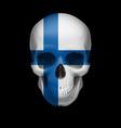 Finnish flag skull vector image vector image