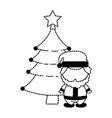 cute santa claus with pine kawaii character vector image