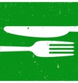 Cutlery on green background vector image