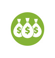 Money icon with three bags vector image