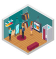 trying shop isometric interior concept vector image