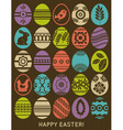 set of colour easter eggs over wooden background vector image
