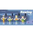 Rowing team costs about podium with medals vector image vector image