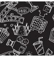 Cartoon doodles hand drawn cinema seamless vector image