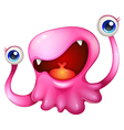 A very excited pink monster vector image