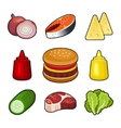Burger icons set vector image
