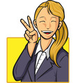 Cartoon of Happy Office Worker Girl vector image