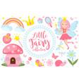 little fairy set cartoon style cute and mystical vector image