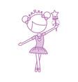 little girl dancer ballet holding magic wand vector image