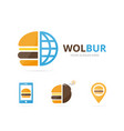 set of burger logo combination hamburger and vector image
