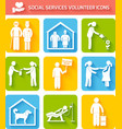 Volunteer icons set flat vector image