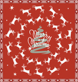 red Christmas card with flying deer vector image vector image
