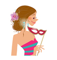 woman holding mask vector image vector image