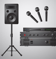 Amplifier Microphone Speaker DVD-player vector image