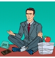Businessman Meditating on the Office Table vector image