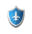 air flight company logo plane on shield icon vector image