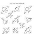 Airplanes thin line icons vector image