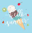 hello summer with ice cream on blue background vector image